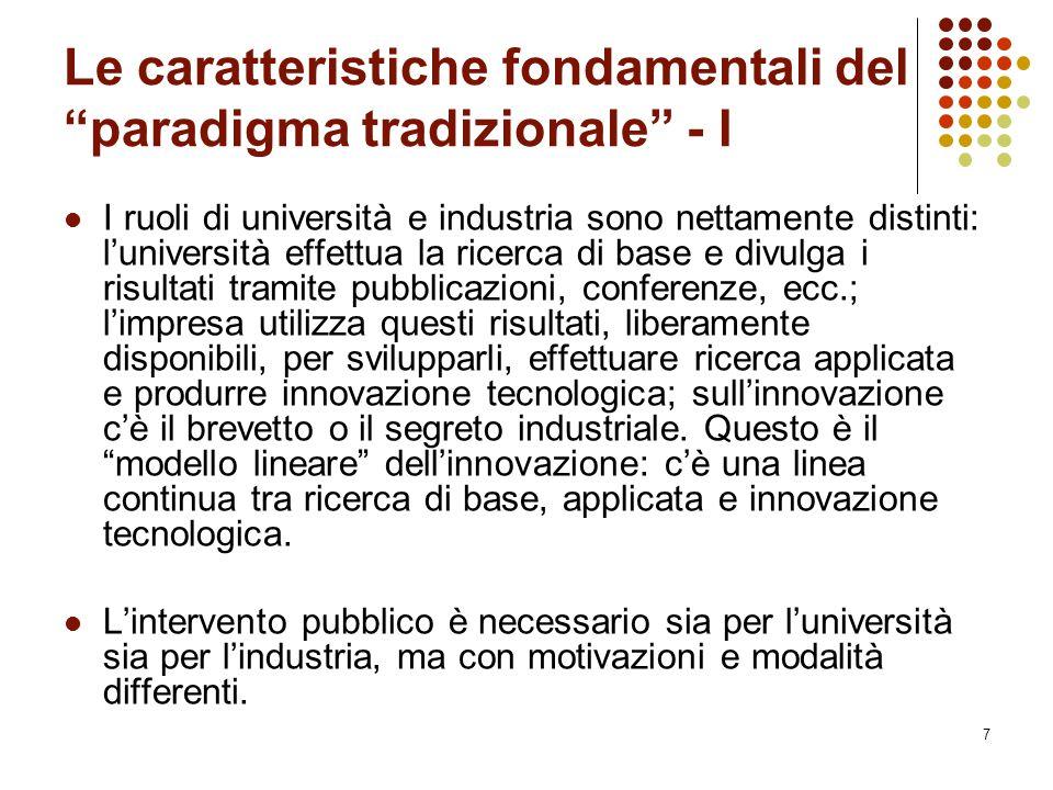 """7 Le caratteristiche fondamentali del """"paradigma tradizionale"""" - I I ruoli di università e industria sono nettamente distinti: l'università effettua l"""