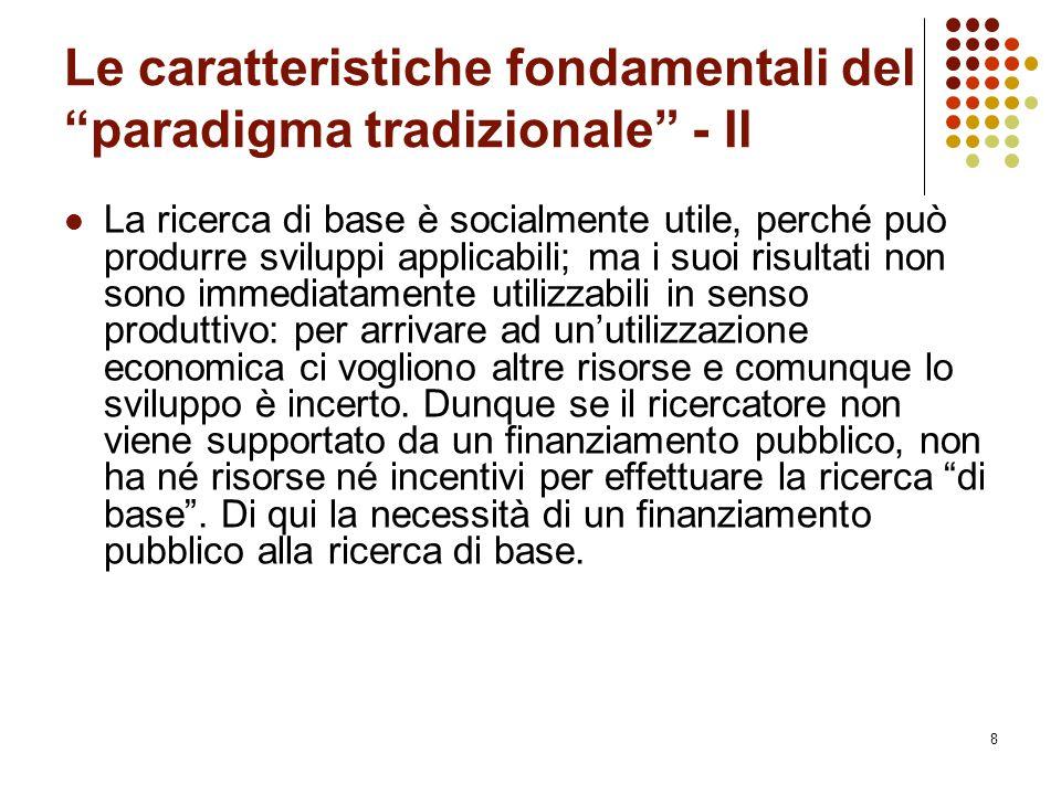9 Le caratteristiche fondamentali del paradigma tradizionale - IlI Anche la ricerca applicata è naturalmente utile da un punto di vista sociale e senza intervento pubblico verrebbe effettuata in misura limitata.