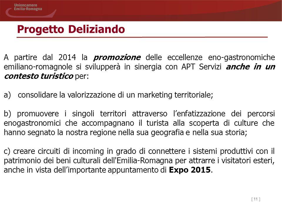 [ 11 ] Progetto Deliziando A partire dal 2014 la promozione delle eccellenze eno-gastronomiche emiliano-romagnole si svilupperà in sinergia con APT Se