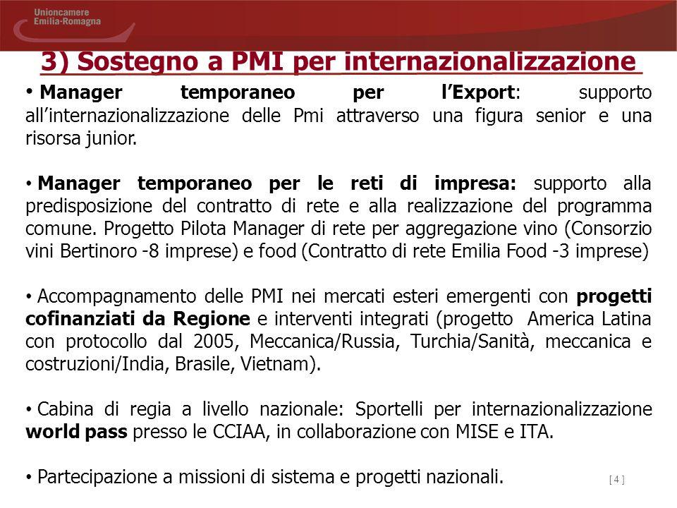 [ 4 ] 3) Sostegno a PMI per internazionalizzazione Manager temporaneo per l'Export: supporto all'internazionalizzazione delle Pmi attraverso una figur