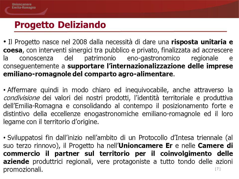 [ 8 ] Progetto Deliziando La peculiarità più caratterizzante del Progetto è la qualità e la ricchezza del paniere dei prodotti che vengono proposti ai compratori internazionali: - 19 prodotti DOP e 20 prodotti IGP; - prodotti bio da agricoltura biologica; - prodotti a Qualità Controllata (QC); - oltre 30 prodotti tradizionali regionali; - caffè e cioccolato; - 20 vini DOP (ex DOC e DOCG) e 9 vini IGP (ex IGT); la promozione privilegia i vini prodotti da vitigni autoctoni.