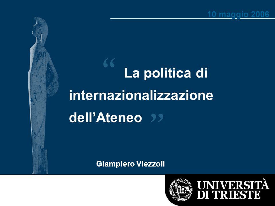 La politica di internazionalizzazione dell'Ateneo Giampiero Viezzoli Elisabetta Vezzosi 10 maggio 2006