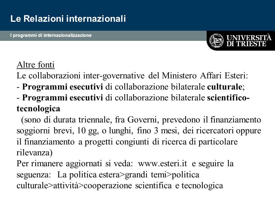 Altre fonti Le collaborazioni inter-governative del Ministero Affari Esteri: - Programmi esecutivi di collaborazione bilaterale culturale; - Programmi
