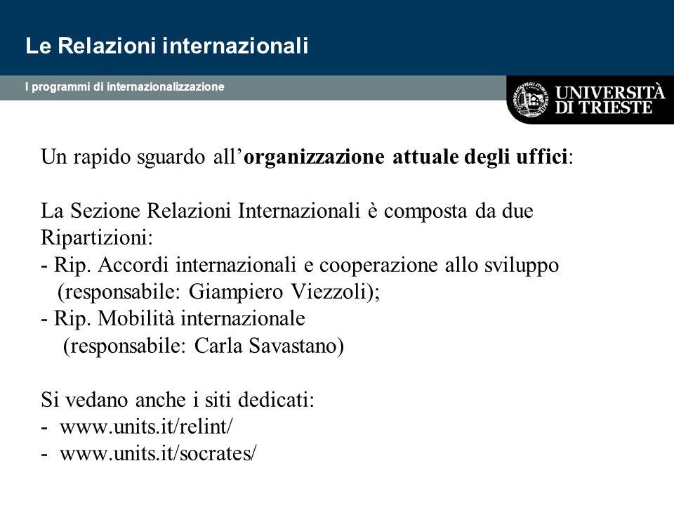 Un rapido sguardo all'organizzazione attuale degli uffici: La Sezione Relazioni Internazionali è composta da due Ripartizioni: - Rip. Accordi internaz