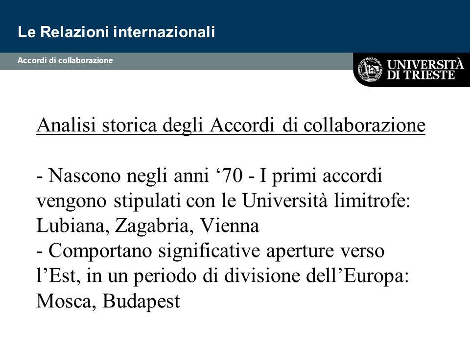Analisi storica degli Accordi di collaborazione - Nascono negli anni '70 - I primi accordi vengono stipulati con le Università limitrofe: Lubiana, Zag