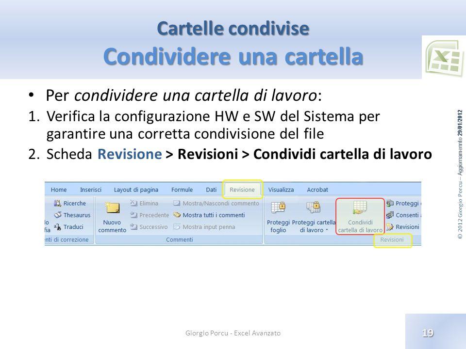 © 2012 Giorgio Porcu – Aggiornamennto 29/01/2012 Cartelle condivise Condividere una cartella Per condividere una cartella di lavoro: 1.Verifica la configurazione HW e SW del Sistema per garantire una corretta condivisione del file 2.Scheda Revisione > Revisioni > Condividi cartella di lavoro 19 Giorgio Porcu - Excel Avanzato