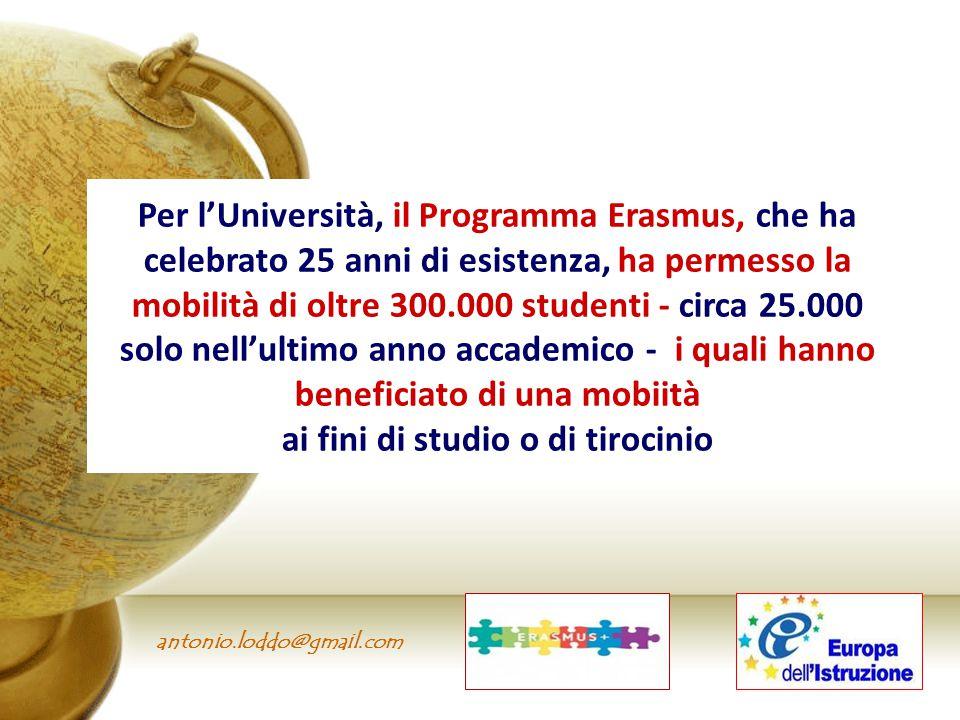antonio.loddo@gmail.com Per l'Università, il Programma Erasmus, che ha celebrato 25 anni di esistenza, ha permesso la mobilità di oltre 300.000 studen