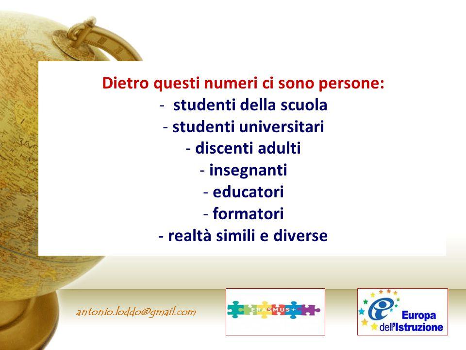 antonio.loddo@gmail.com Dietro questi numeri ci sono persone: - studenti della scuola - studenti universitari - discenti adulti - insegnanti - educato