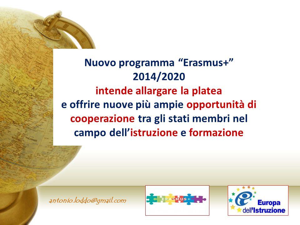 """antonio.loddo@gmail.com Nuovo programma """"Erasmus+"""" 2014/2020 intende allargare la platea e offrire nuove più ampie opportunità di cooperazione tra gli"""