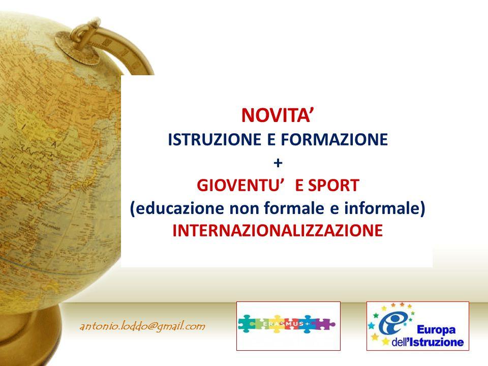 antonio.loddo@gmail.com NOVITA' ISTRUZIONE E FORMAZIONE + GIOVENTU' E SPORT (educazione non formale e informale) INTERNAZIONALIZZAZIONE