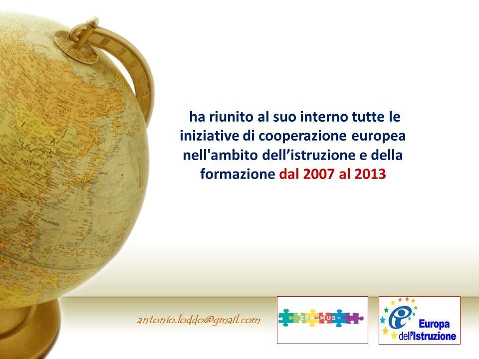 antonio.loddo@gmail.com ha riunito al suo interno tutte le iniziative di cooperazione europea nell'ambito dell'istruzione e della formazione dal 2007