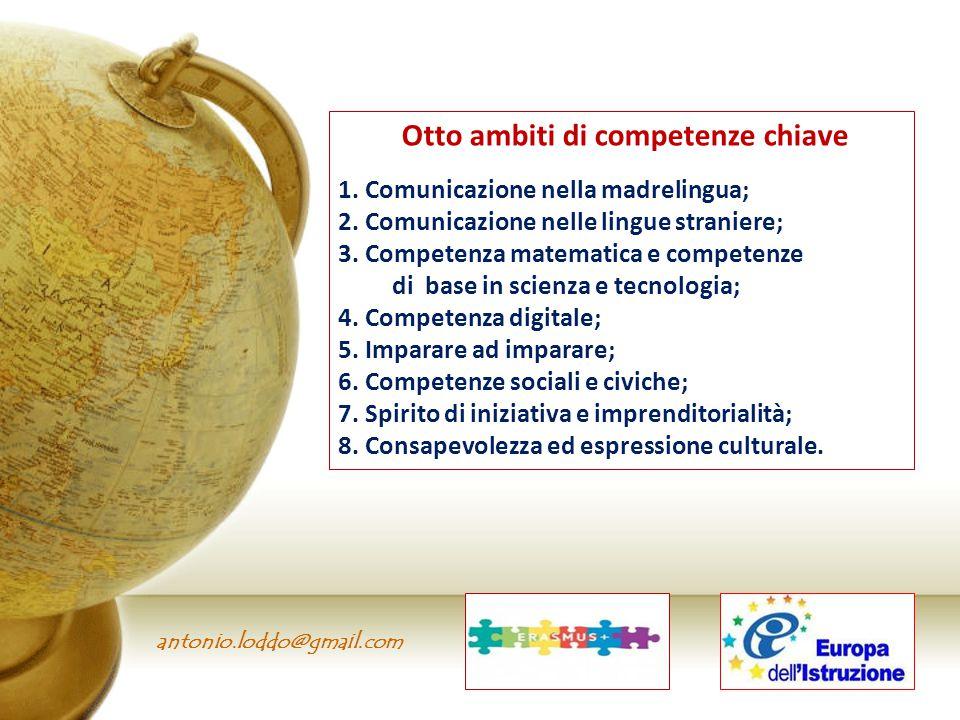 antonio.loddo@gmail.com Otto ambiti di competenze chiave 1. Comunicazione nella madrelingua; 2. Comunicazione nelle lingue straniere; 3. Competenza ma
