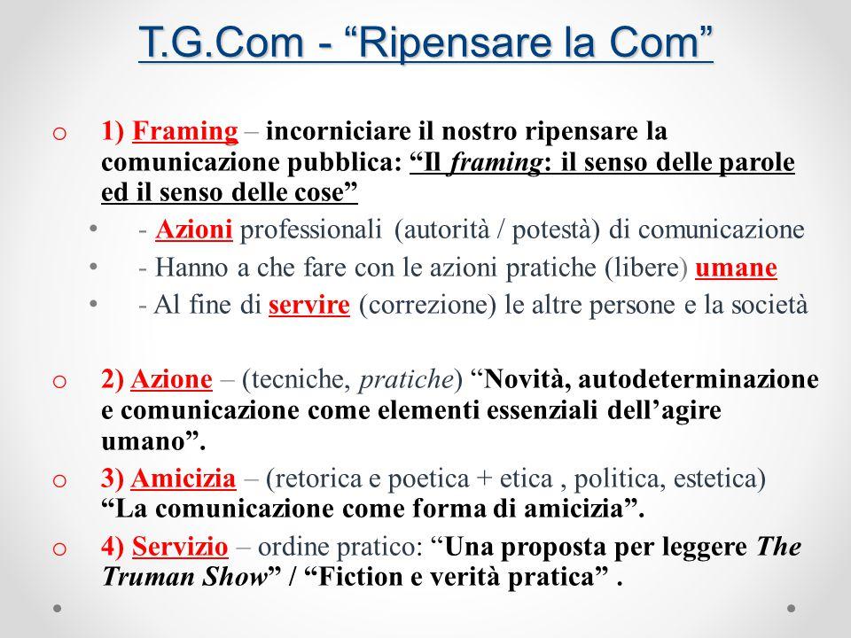 T.G.Com - Ripensare la Com Distinzione tra azioni poetiche e pratiche (1: dal punto di vista dell' agente).