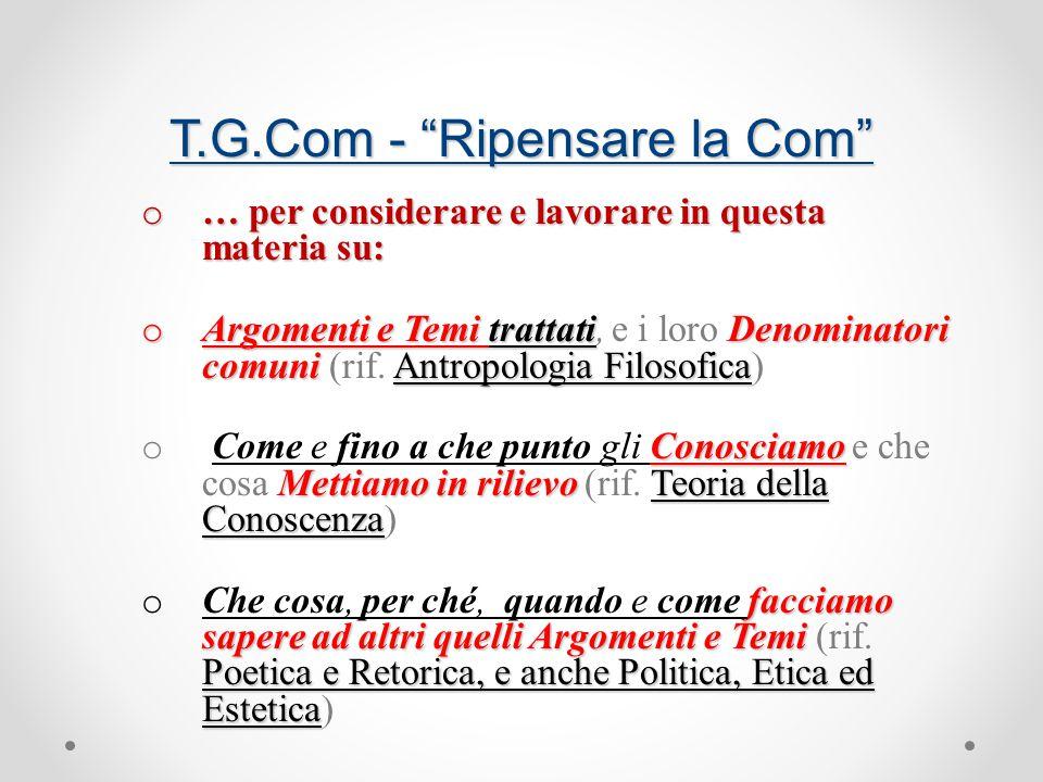 T.G.Com - Ripensare la Com o … per considerare e lavorare in questa materia su: o Argomenti e Temi trattatiDenominatori comuniAntropologia Filosofica o Argomenti e Temi trattati, e i loro Denominatori comuni (rif.