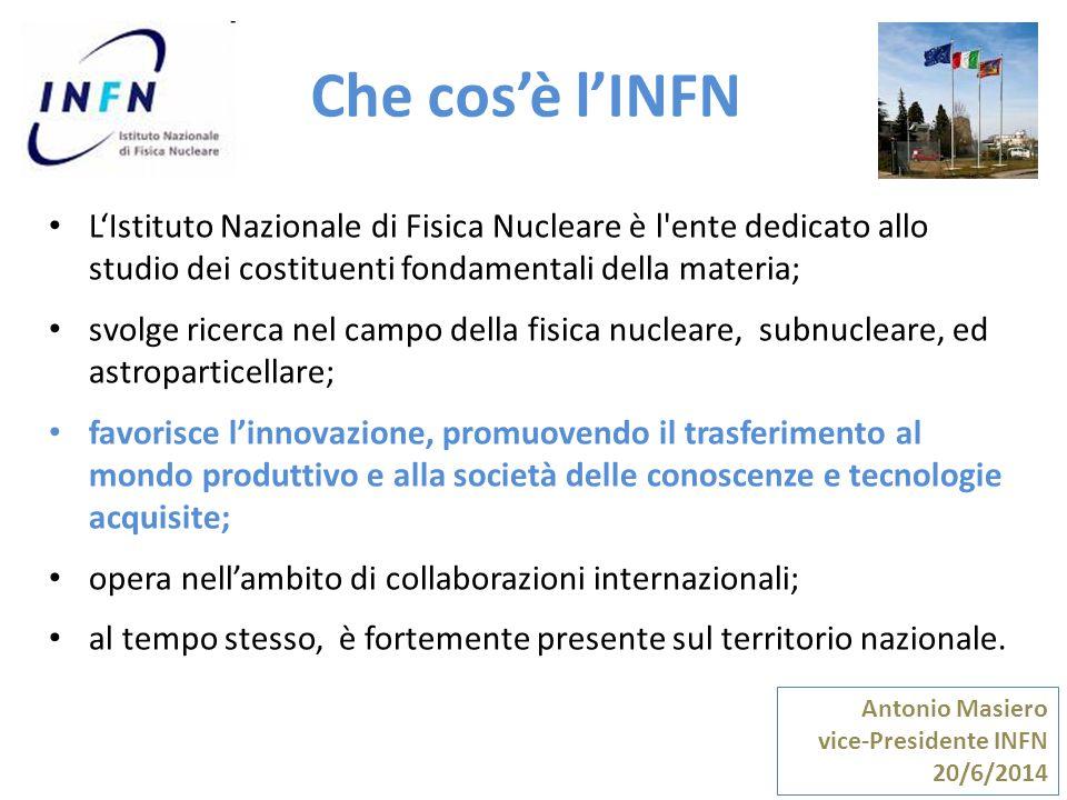 Che cos'è l'INFN Antonio Masiero vice-Presidente INFN 20/6/2014 L'Istituto Nazionale di Fisica Nucleare è l'ente dedicato allo studio dei costituenti