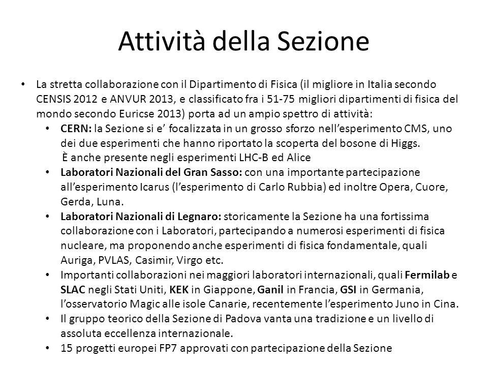 Attività della Sezione La stretta collaborazione con il Dipartimento di Fisica (il migliore in Italia secondo CENSIS 2012 e ANVUR 2013, e classificato