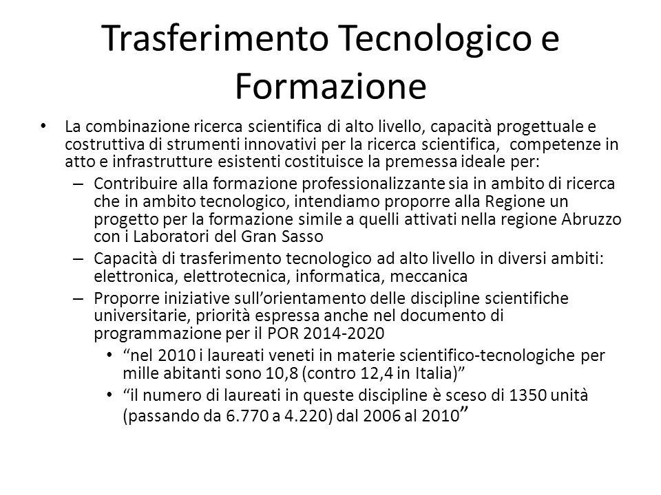 Trasferimento Tecnologico e Formazione La combinazione ricerca scientifica di alto livello, capacità progettuale e costruttiva di strumenti innovativi