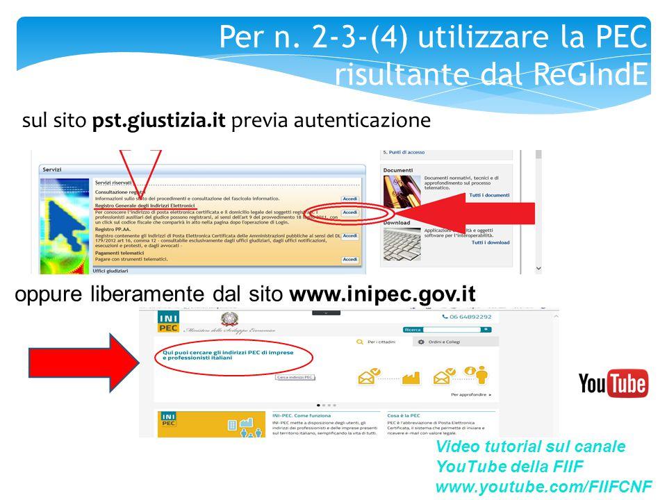 sul sito pst.giustizia.it previa autenticazione Video tutorial sul canale YouTube della FIIF www.youtube.com/FIIFCNF oppure liberamente dal sito www.i