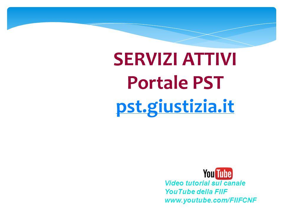SERVIZI ATTIVI Portale PST pst.giustizia.it pst.giustizia.it Video tutorial sul canale YouTube della FIIF www.youtube.com/FIIFCNF