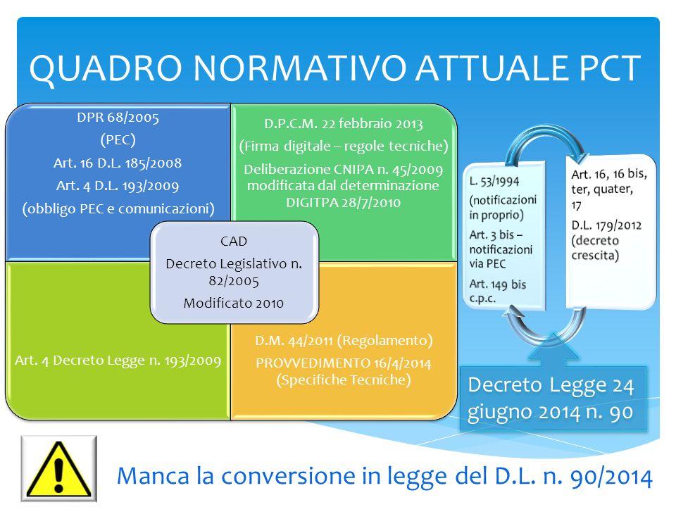QUADRO NORMATIVO ATTUALE PCT DPR 68/2005 (PEC) Art. 16 D.L. 185/2008 Art. 4 D.L. 193/2009 (obbligo PEC e comunicazioni) D.P.C.M. 22 febbraio 2013 (Fir