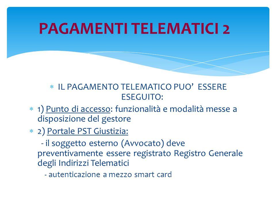 PAGAMENTI TELEMATICI 2  IL PAGAMENTO TELEMATICO PUO' ESSERE ESEGUITO:  1) Punto di accesso: funzionalità e modalità messe a disposizione del gestore