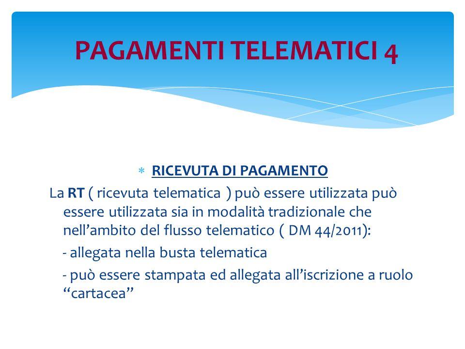 PAGAMENTI TELEMATICI 4  RICEVUTA DI PAGAMENTO La RT ( ricevuta telematica ) può essere utilizzata può essere utilizzata sia in modalità tradizionale