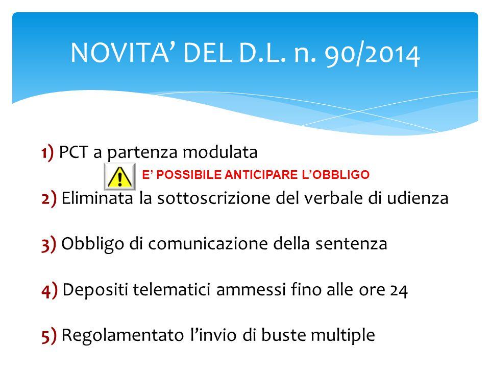 NOVITA' DEL D.L. n. 90/2014 1) PCT a partenza modulata 2) Eliminata la sottoscrizione del verbale di udienza 3) Obbligo di comunicazione della sentenz