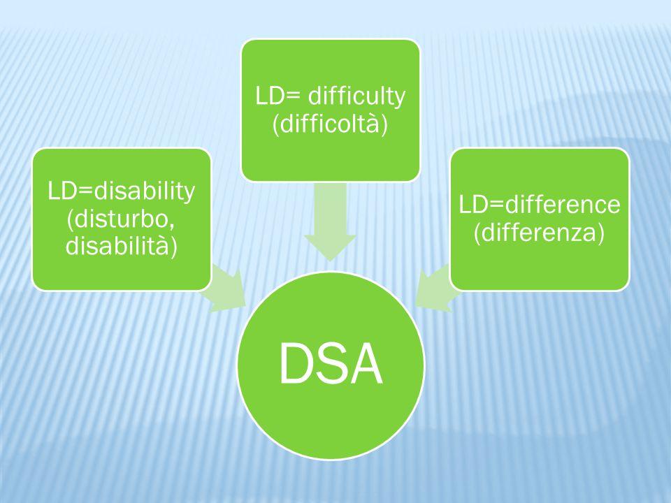 DSA LD=disability (disturbo, disabilità) LD= difficulty (difficoltà) LD=difference (differenza)