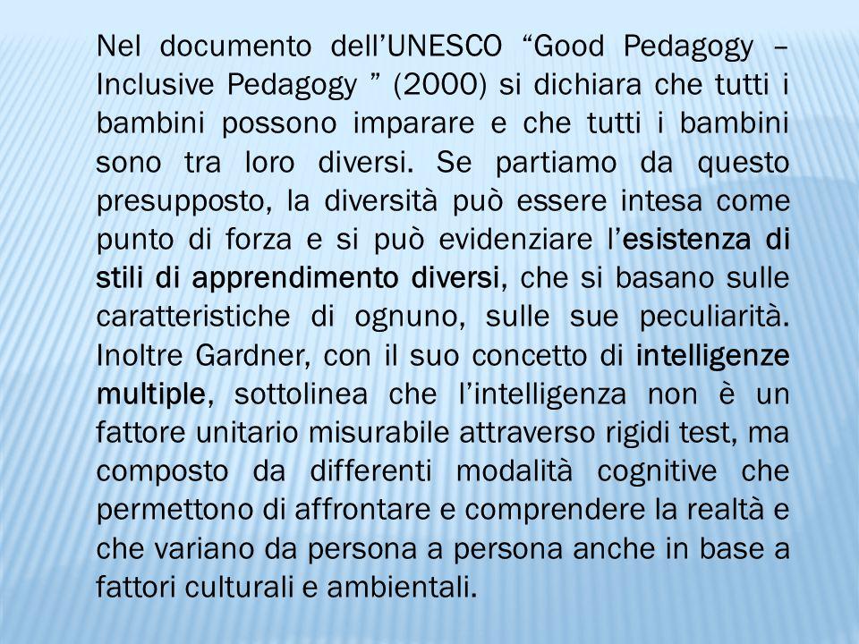 """Nel documento dell'UNESCO """"Good Pedagogy – Inclusive Pedagogy """" (2000) si dichiara che tutti i bambini possono imparare e che tutti i bambini sono tra"""