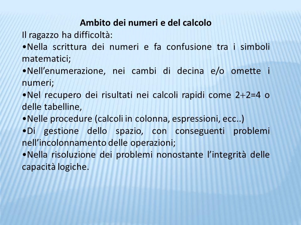 Ambito dei numeri e del calcolo Il ragazzo ha difficoltà: Nella scrittura dei numeri e fa confusione tra i simboli matematici; Nell'enumerazione, nei