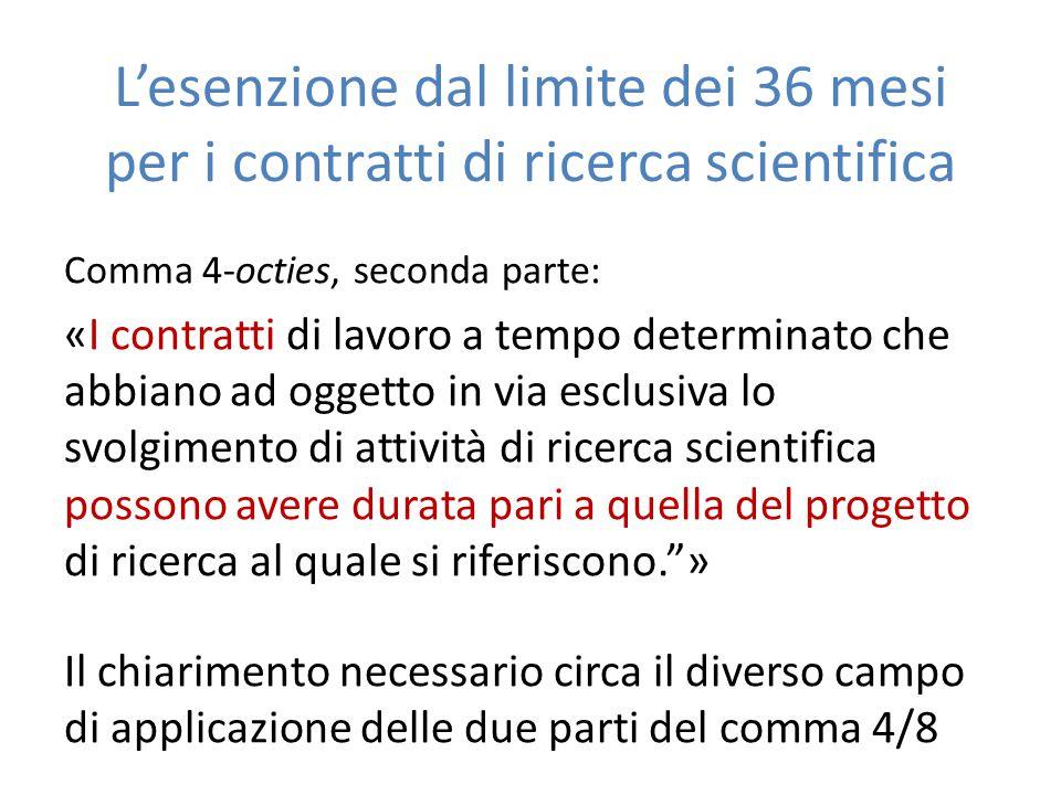 L'esenzione dal limite dei 36 mesi per i contratti di ricerca scientifica Comma 4-octies, seconda parte: «I contratti di lavoro a tempo determinato ch