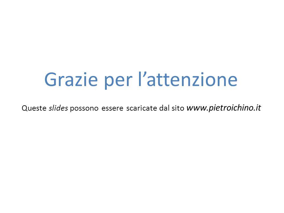 Grazie per l'attenzione Queste slides possono essere scaricate dal sito www.pietroichino.it