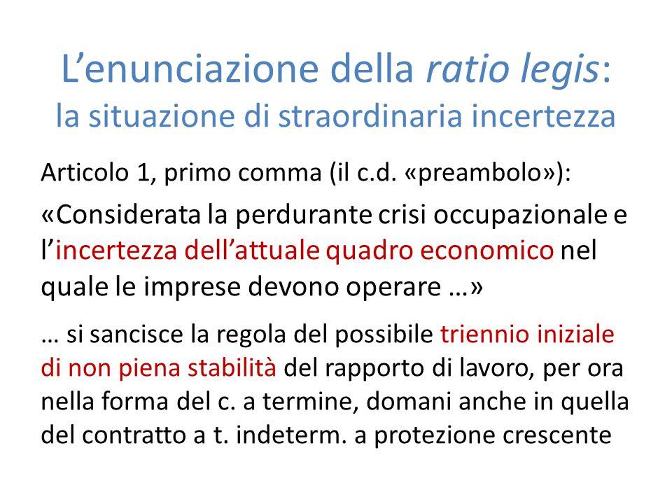 L'enunciazione della ratio legis: la situazione di straordinaria incertezza Articolo 1, primo comma (il c.d. «preambolo»): «Considerata la perdurante