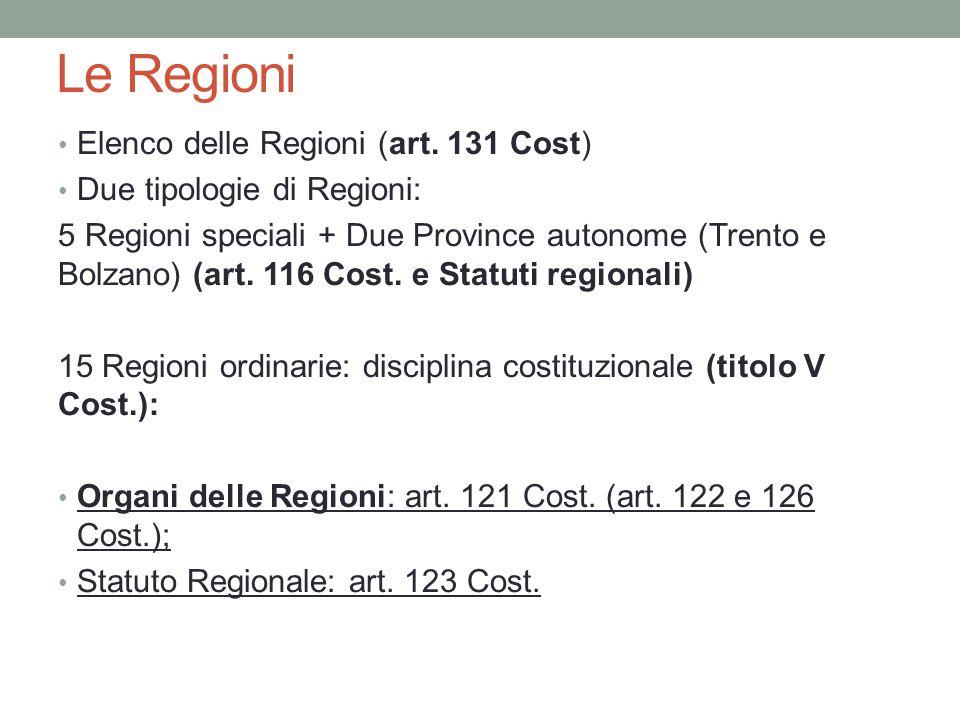 Le Regioni Elenco delle Regioni (art. 131 Cost) Due tipologie di Regioni: 5 Regioni speciali + Due Province autonome (Trento e Bolzano) (art. 116 Cost