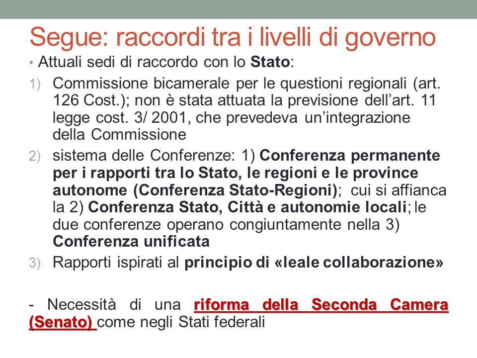 Segue: raccordi tra i livelli di governo Attuali sedi di raccordo con lo Stato: 1) Commissione bicamerale per le questioni regionali (art. 126 Cost.);