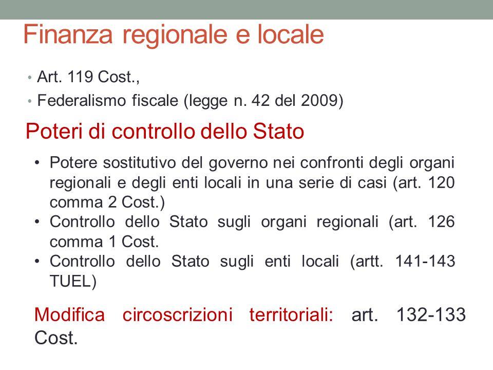 Finanza regionale e locale Art. 119 Cost., Federalismo fiscale (legge n. 42 del 2009) Poteri di controllo dello Stato Potere sostitutivo del governo n