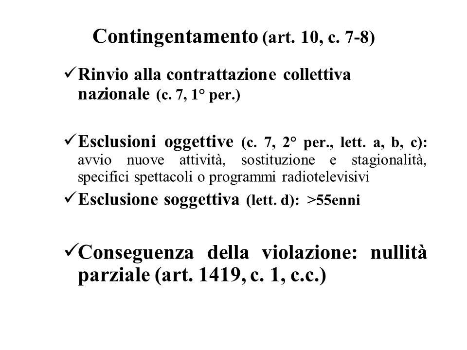 Contingentamento (art. 10, c. 7-8) Rinvio alla contrattazione collettiva nazionale (c. 7, 1° per.) Esclusioni oggettive (c. 7, 2° per., lett. a, b, c)