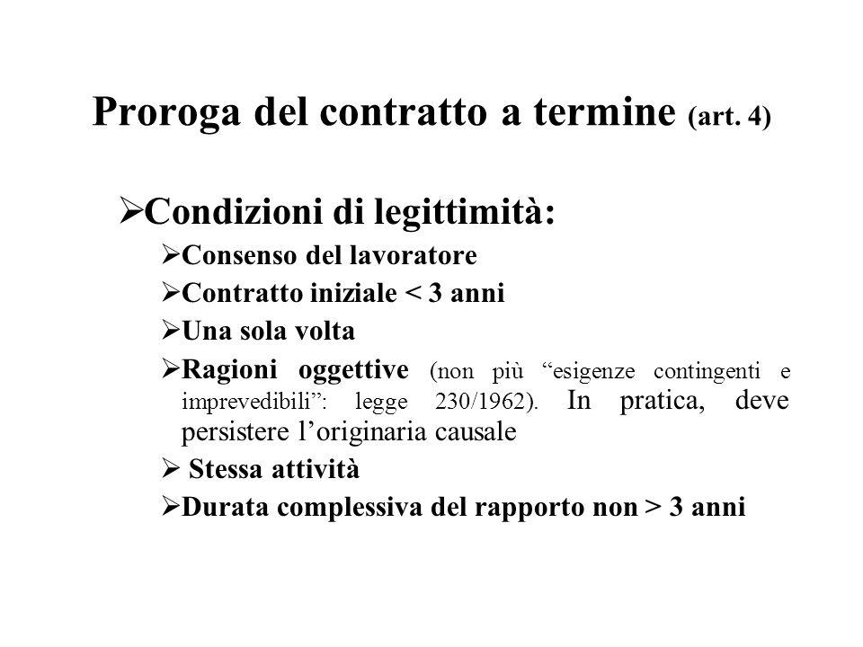 Proroga del contratto a termine (art. 4)  Condizioni di legittimità:  Consenso del lavoratore  Contratto iniziale < 3 anni  Una sola volta  Ragio