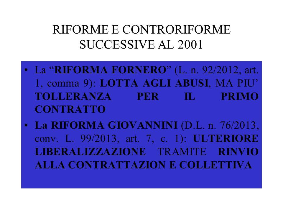 """RIFORME E CONTRORIFORME SUCCESSIVE AL 2001 La """"RIFORMA FORNERO"""" (L. n. 92/2012, art. 1, comma 9): LOTTA AGLI ABUSI, MA PIU' TOLLERANZA PER IL PRIMO CO"""