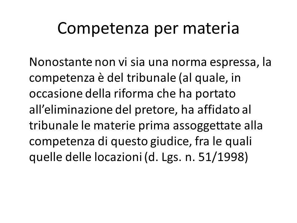 Competenza per materia Nonostante non vi sia una norma espressa, la competenza è del tribunale (al quale, in occasione della riforma che ha portato al
