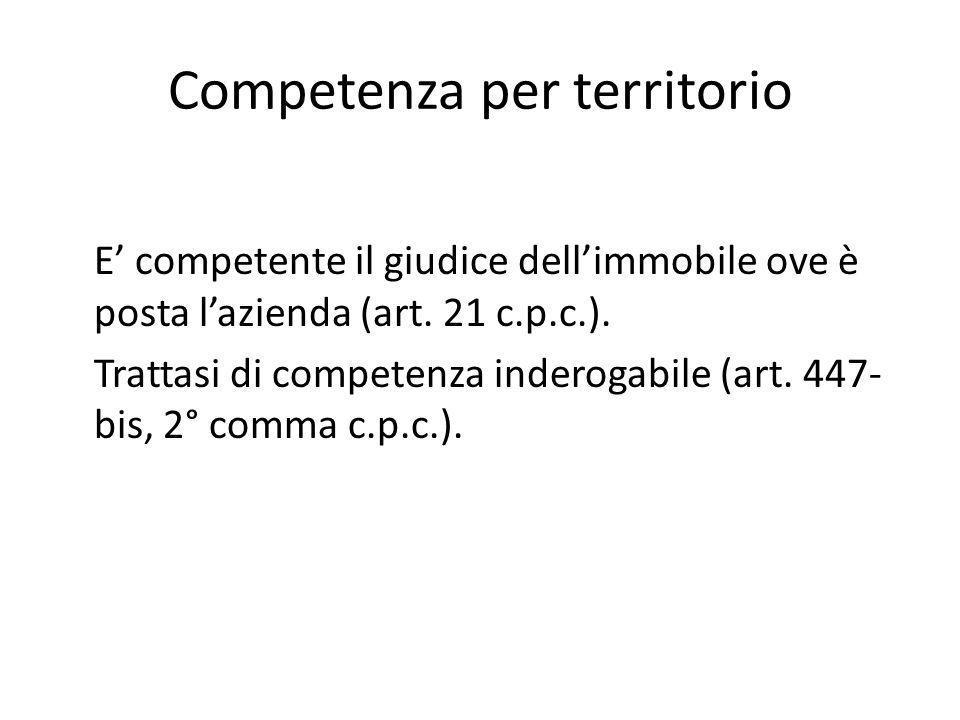 Competenza per territorio E' competente il giudice dell'immobile ove è posta l'azienda (art. 21 c.p.c.). Trattasi di competenza inderogabile (art. 447