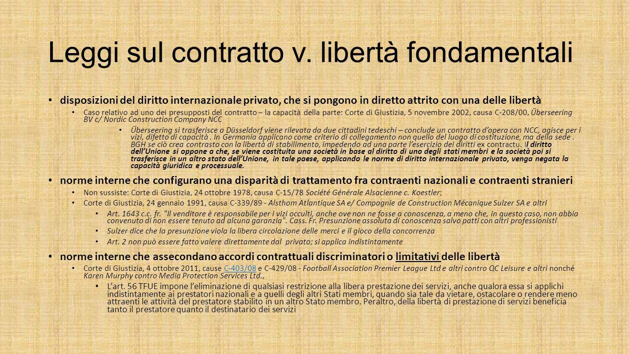 Leggi sul contratto v. libertà fondamentali disposizioni del diritto internazionale privato, che si pongono in diretto attrito con una delle libertà C