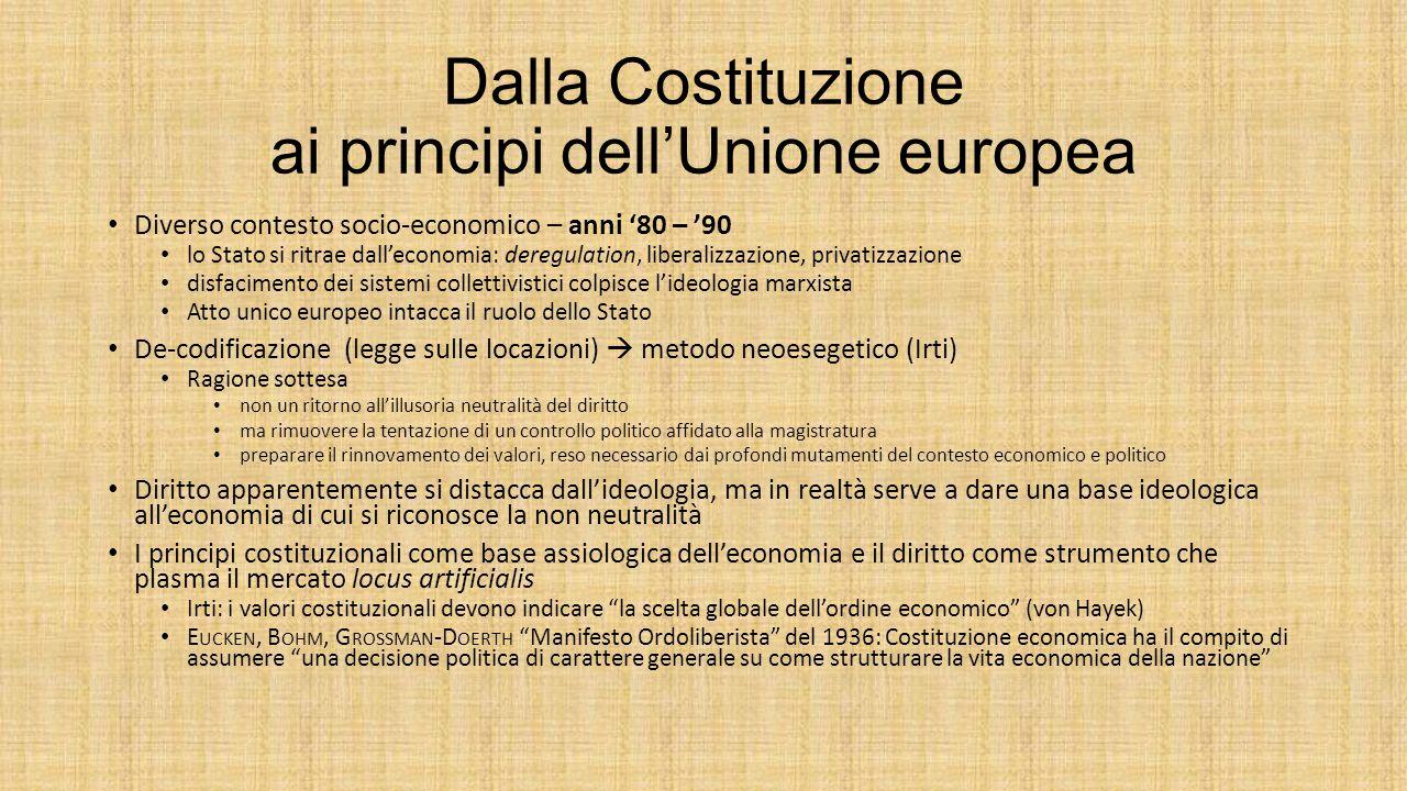 Dalla Costituzione ai principi dell'Unione europea Diverso contesto socio-economico – anni '80 – '90 lo Stato si ritrae dall'economia: deregulation, l