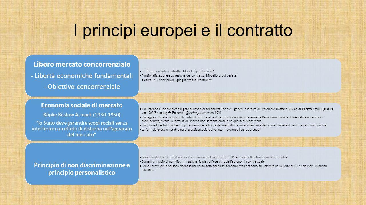 I principi europei e il contratto Rafforzamento del contratto. Modello iperliberista? Funzionalizzazione e correzione del contratto. Modello ordoliber