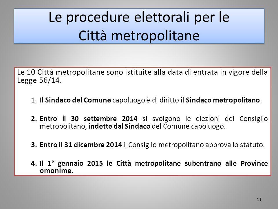 Le procedure elettorali per le Città metropolitane Le 10 Città metropolitane sono istituite alla data di entrata in vigore della Legge 56/14. 1.Il Sin
