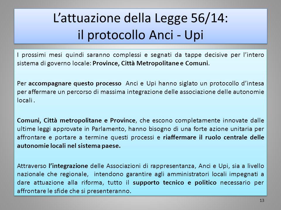 L'attuazione della Legge 56/14: il protocollo Anci - Upi I prossimi mesi quindi saranno complessi e segnati da tappe decisive per l'intero sistema di