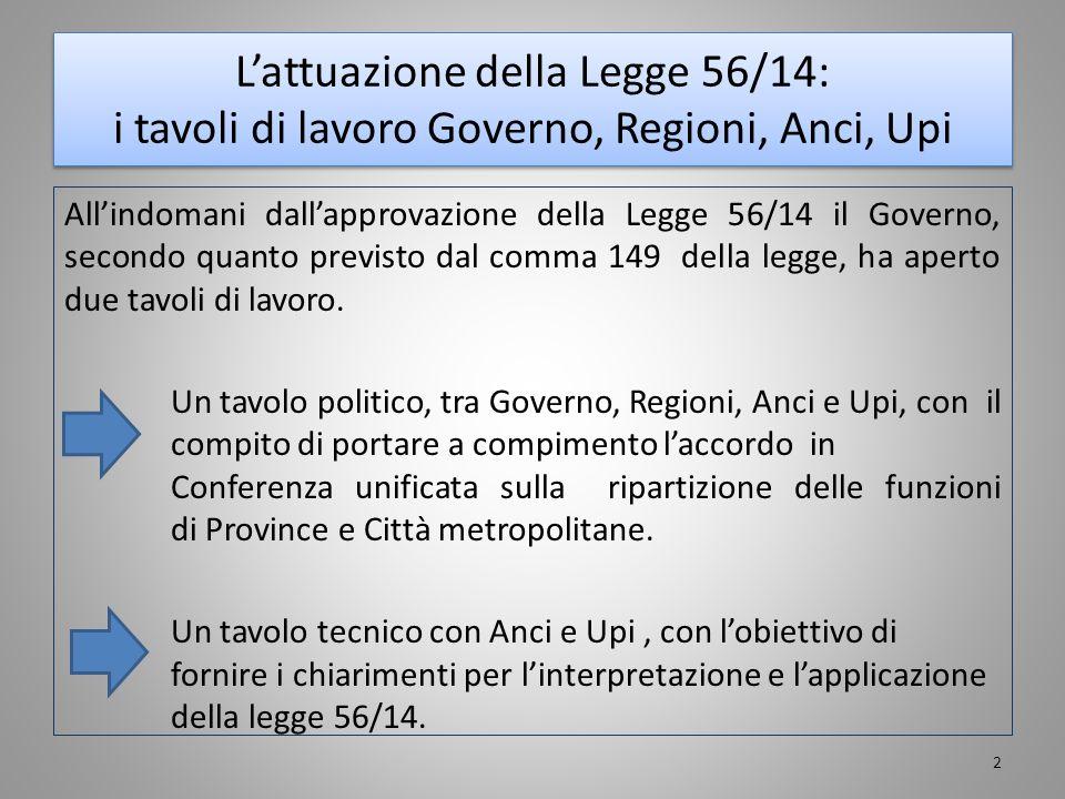 L'attuazione della Legge 56/14: i tavoli di lavoro Governo, Regioni, Anci, Upi All'indomani dall'approvazione della Legge 56/14 il Governo, secondo qu