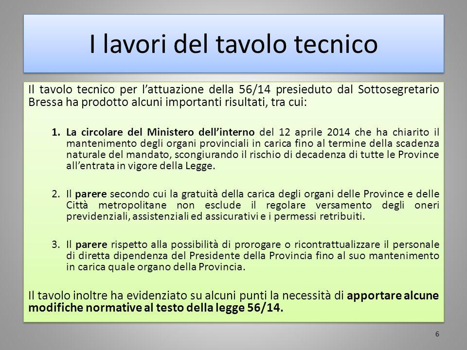 I lavori del tavolo tecnico Il tavolo tecnico per l'attuazione della 56/14 presieduto dal Sottosegretario Bressa ha prodotto alcuni importanti risulta