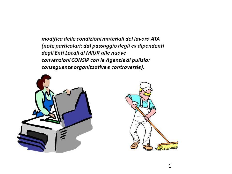 modifica delle condizioni materiali del lavoro ATA (note particolari: dal passaggio degli ex dipendenti degli Enti Locali al MIUR alle nuove convenzio