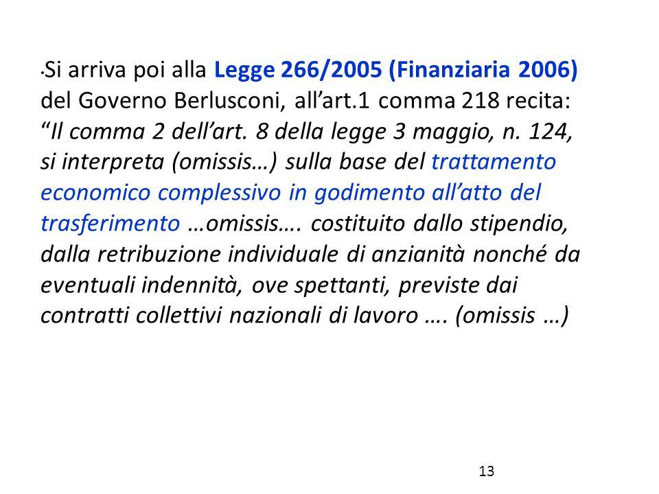 """Si arriva poi alla Legge 266/2005 (Finanziaria 2006) del Governo Berlusconi, all'art.1 comma 218 recita: """"Il comma 2 dell'art. 8 della legge 3 maggio,"""